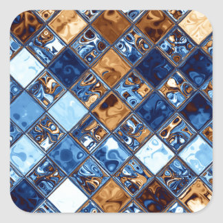Cowboy Bandana Blue Mosaic Pattern Original Art Square Sticker