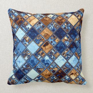 Cowboy Bandana Blue Mosaic Pattern Original Art Throw Pillow