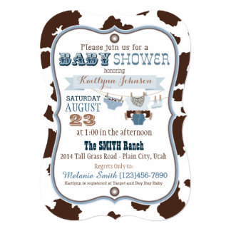Cowboy Bandanna Jumper Baby Shower Card