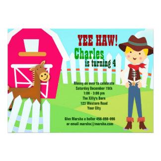 Cowboy barn farm birthday invitation