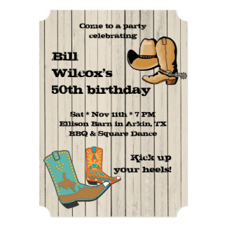 Cowboy BBQ and Square Dancce Party Card