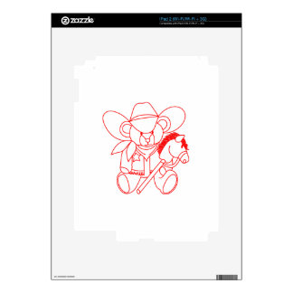 Cowboy Bear Redwork Decals For The iPad 2