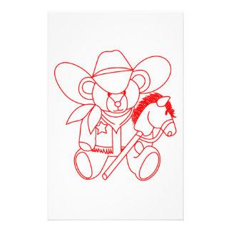 Cowboy Bear Redwork Stationery