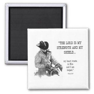 COWBOY: BIBLE: STRENTGH, SHIELD: PENCIL REALISM 2 INCH SQUARE MAGNET
