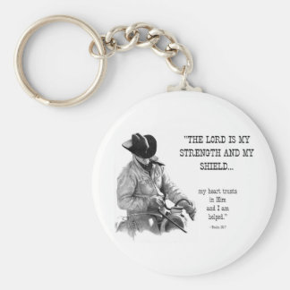COWBOY: BIBLE: STRENTGH, SHIELD: PENCIL REALISM BASIC ROUND BUTTON KEYCHAIN
