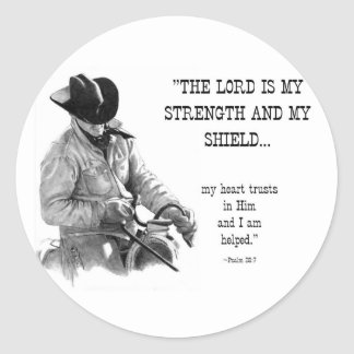 COWBOY: BIBLE: STRENTGH, SHIELD: PENCIL REALISM CLASSIC ROUND STICKER