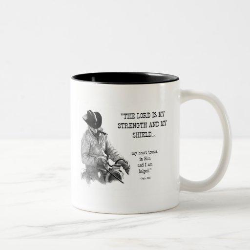 COWBOY: BIBLE: STRENTGH, SHIELD: PENCIL REALISM Two-Tone COFFEE MUG