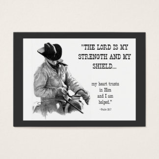 COWBOY, BIBLE TEXT: PENCIL: ACEO SIZE BUSINESS CARD