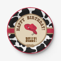 Cowboy Birthday, Customizable Plates