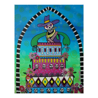 cowboy birthday day of the dead poster
