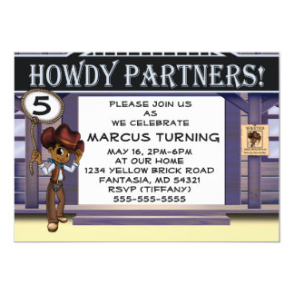 """Cowboy Birthday Invitation"" 7"" x 5"" Cards"
