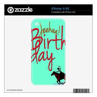 Cowboy Birthday JeeHaa Skins For iPhone 4