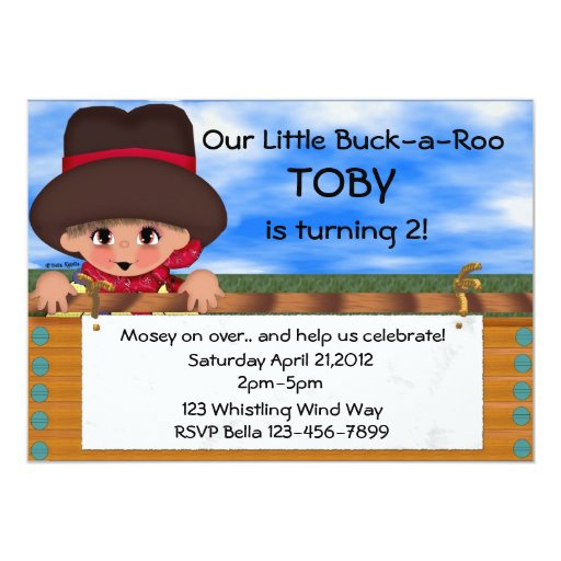 Cowboy Birthday Party 5x7 Paper Invitation Card