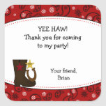 Cowboy Birthday Party Favor Sticker Red Paisley