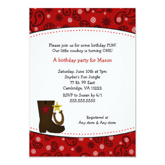 Cowboy Birthday Party Red Paisley boot horseshoe Card