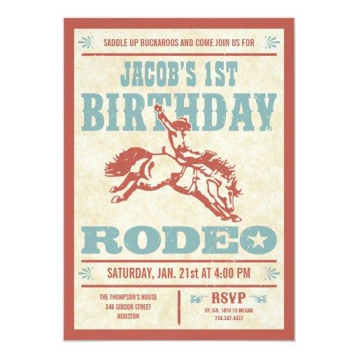 Cowboy Birthday Rodeo Party Invitations