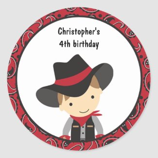 Cowboy Birthday Stickers sticker