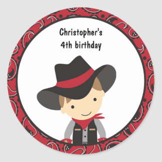 Cowboy Birthday Stickers