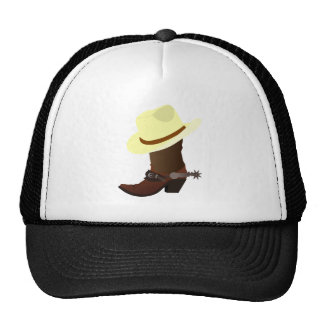Cowboy boot and hat illustration