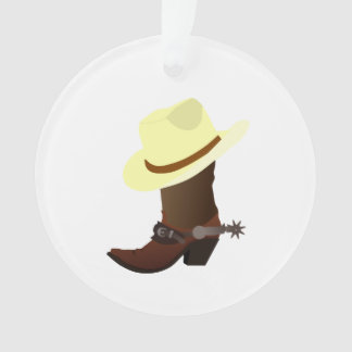 Cowboy boot and hat illustration ornament