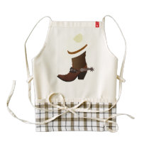 Cowboy boot and hat illustration zazzle HEART apron