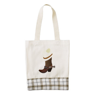 Cowboy boot and hat illustration zazzle HEART tote bag
