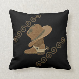 Cowboy Boot and Hat Off Wooden Inlay Throw Pillow
