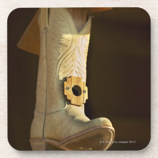 Cowboy boot bird house coaster