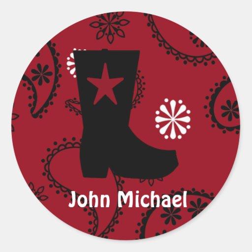Cowboy  Boot Birthday  Stickers