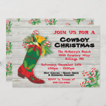 Cowboy Boot Christmas Party Holiday Card
