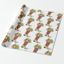 Cowboy boot Christmas wrapping paper