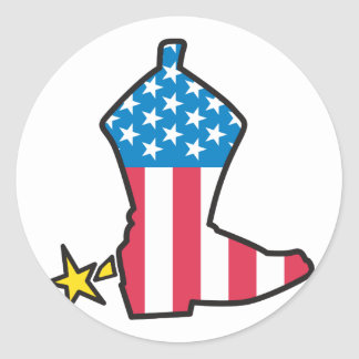 Cowboy Boot Classic Round Sticker