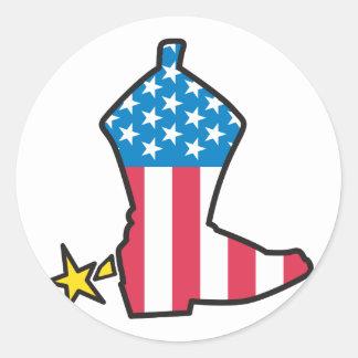 Cowboy Boot Classic Round Sticker