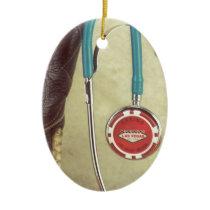 Cowboy Boot Doctor Stethoscope Casino Chip Nurse Ceramic Ornament