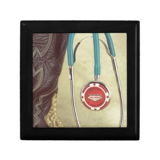 Cowboy Boot Doctor Stethoscope Casino Chip Nurse Keepsake Box