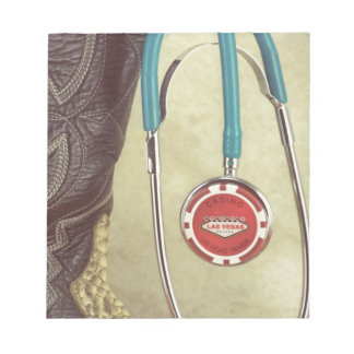 Cowboy Boot Doctor Stethoscope Casino Chip Nurse Notepad