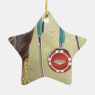 Cowboy Boot Doctor Stethoscope Casino Chip Nurse Double-Sided Star Ceramic Christmas Ornament