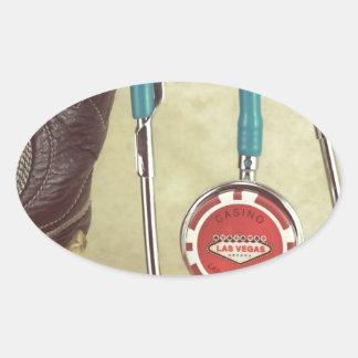 Cowboy Boot Doctor Stethoscope Casino Chip Nurse Oval Sticker