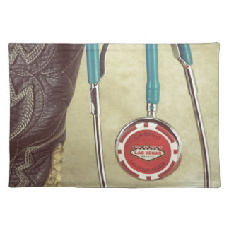 Cowboy Boot Doctor Stethoscope Casino Chip Nurse Placemat