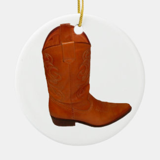 Cowboy Boot Double-Sided Ceramic Round Christmas Ornament