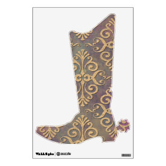 Cowboy Boot Fancy Damask Gold and Brown Wall Sticker