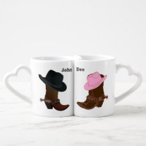 Cowboy Boot & Hat His & Hers Love heart mugs set