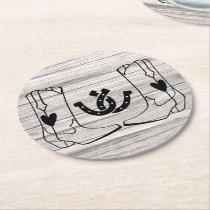 Cowboy Boot Horseshoe Wedding Country Western Wood Round Paper Coaster