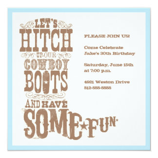 "Cowboy Boot Invitation 5.25"" Square Invitation Card"