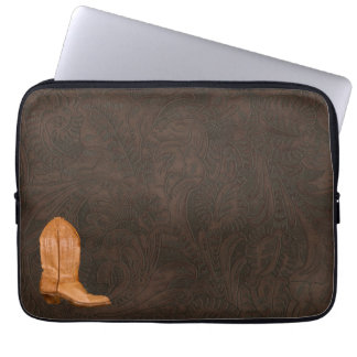 Cowboy Boot on faux Carved Leather-look background Laptop Sleeve