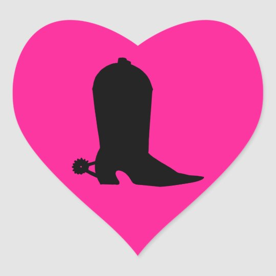 Cowboy Boot Silhouette Heart Sticker