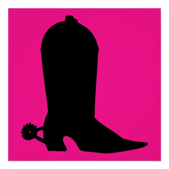 Cowboy Boot Silhouette Poster