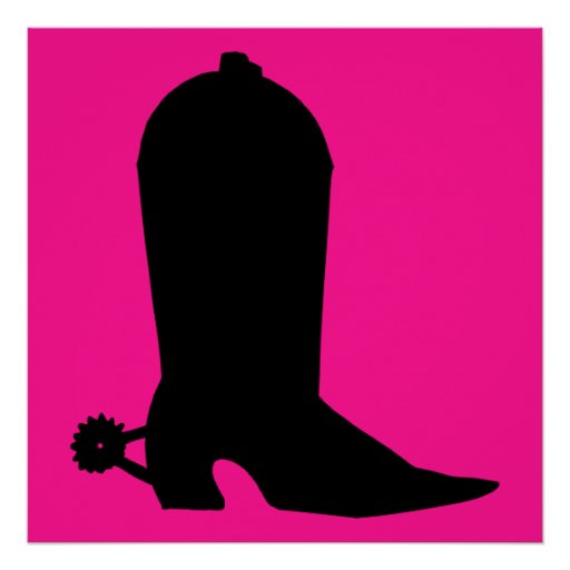 Cowboy Boot Silhouette Posters