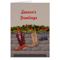 Cowboy Boot Stockings by the Fireplace Card