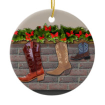 Cowboy Boot Stockings by the Fireplace Ceramic Ornament